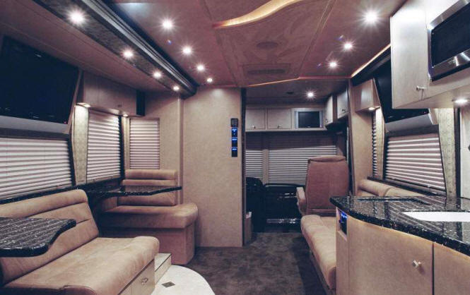 front lounge on prevost entertainer bus 48935 for sale at Staley Bus Sales in Nashville, Tennessee