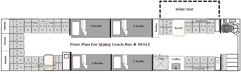 floor plan for bus # 49312 that is For Sale at Staley Bus Sales, Nashville, TN.